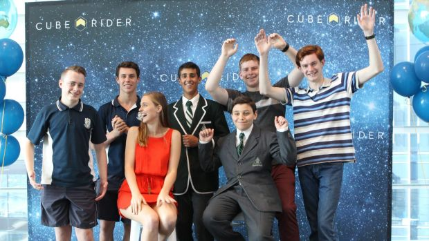 Lift off! (from left) Mason Mangovski and Adam Vincer (West Wallsend High); Solange Cunin, Cuberider CEO; Nicholas ...