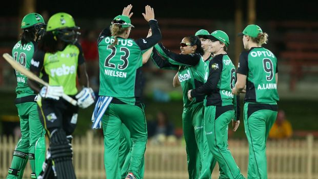 Melbourne Star Alana King celebrates the wicket of West Indian import Stafanie Taylor during the clash with Thunder