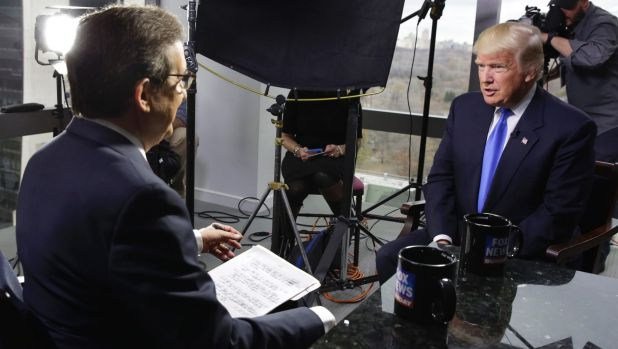 President-elect Donald Trump being interviewed at Trump Tower in New York.