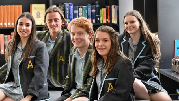 Albert Park College inaugral Year 12 students (left to right) Nicky Tzouvanellis , Jasper Blake, Campbell Rider, Chelsea ...