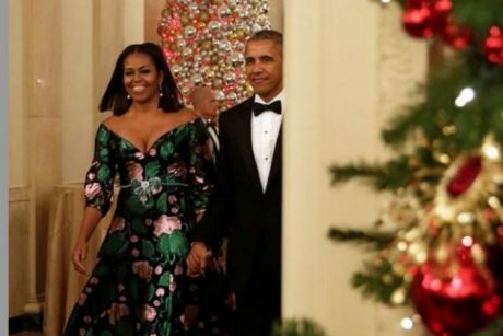 President Barack Obama and First Lady Michelle Obama  brought the festive with a capital F to the Kennedy Center Honors ...
