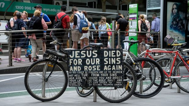 One of the bikes in Collins Street this week.