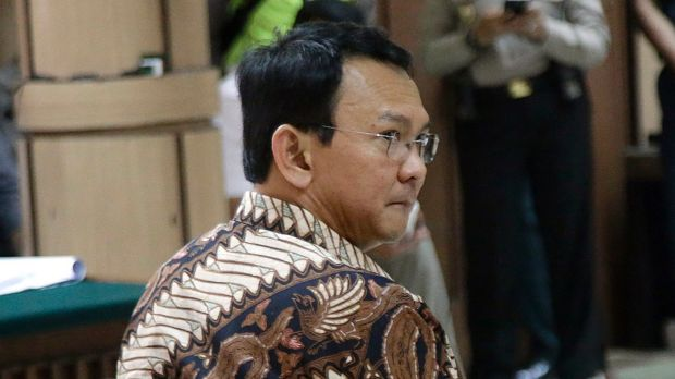 Jakarta Governor Basuki Tjahaja Purnama during his trial at the North Jakarta District Court in Jakarta on Dececember 13.
