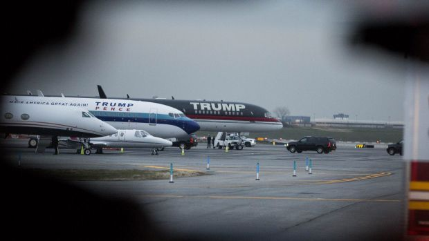 The planes of US President-elect Donald J. Trump stand at LaGuardia Airport.