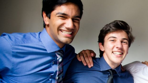 Andreas Orsmond [right] celebrates after receiving his HSC results