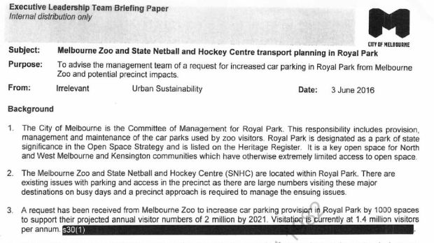 An internal Melbourne City Council memo, released under FOI, shows Melbourne Zoo's request for 1000 more car parking ...