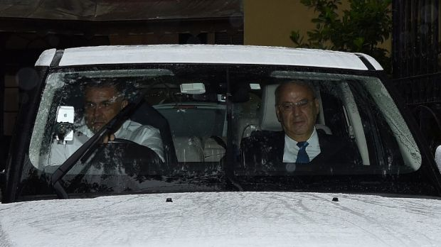 Eddie Obeid (right) on his way to the Supreme Court on Thursday.