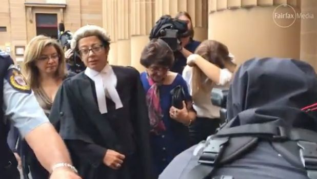 Judith Obeid, centre, leaves court after her husband Eddie was jailed.