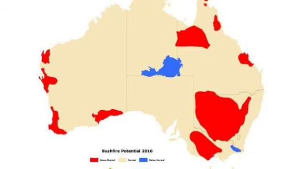 The bushfire outlook for southern Australia (red: high risk, white: normal, blue: below average).