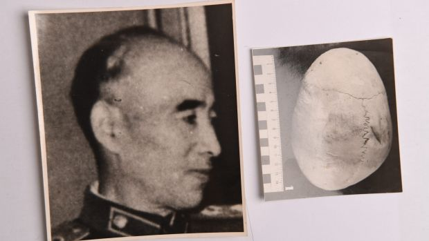 Mao's second-in-command Lin Biao capless and an image of his skull found in KGB archives.