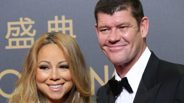 James Packer and Mariah Carey in October 2015.