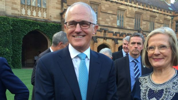 Malcolm Turnbull and his wife Lucy at the University of Sydney on Saturday where the Prime Minister reaffirmed his ...