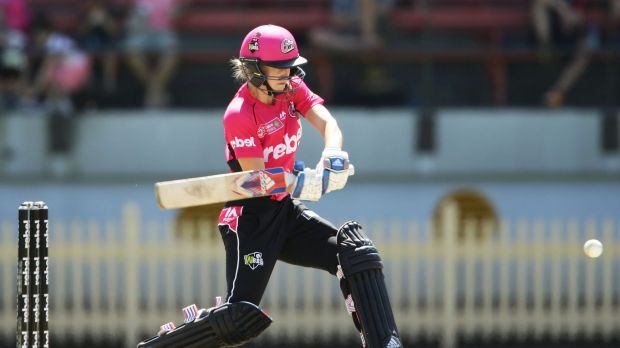 Ellyse Perry of the Sixers bats during the Women's Big Bash League match between the Sydney Sixers and the Brisbane Heat.