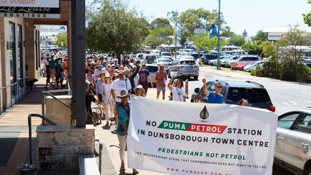 Protestors rally against a proposed 24-hour Puma petrol station in Dunsborough.