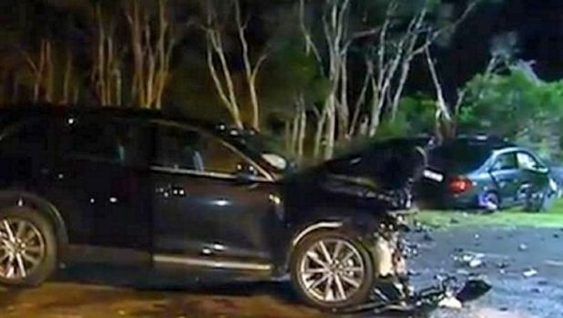 The crash scene at Phillip Island in which a 16-month-old girl was killed.
