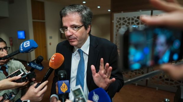 Francois Delattre, UN ambassador of France, addresses reporters before an expected vote by the UN Security Council on ...