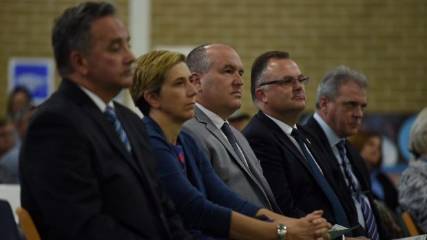 NSW Corrections Minister David Elliott (third from left) during the Girrakool School presentation day ceremony at the ...