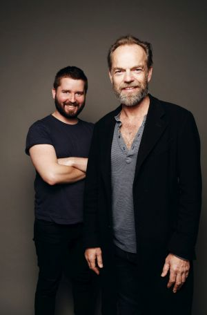 Williams with actor Hugo Weaving in 2014, ahead of the STC's <i>Macbeth</i>.