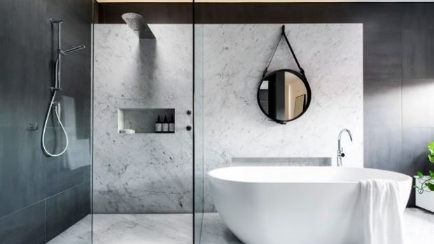 The emerging preference is for large format tiling for New small bathroom trends