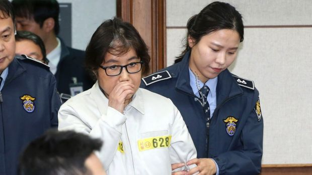 Choi Soon-sil, the jailed confidante of  South Korean President Park Geun-hye, appears for the first day of her trial at ...