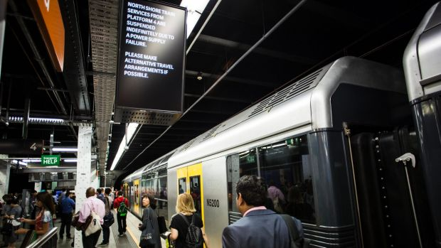 "An announcement at Wynyard Station said services were suspended ""indefinitely""."