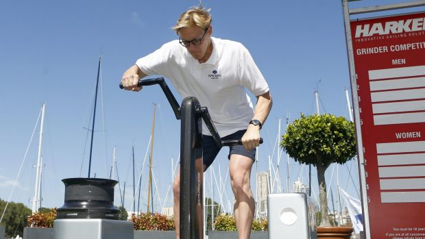 Outspken: Mack Horton participates in a 'grinder challenge' as part of promotions for the Sydney to Hobart yacht race.