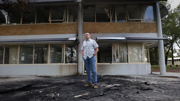 Australian Christian Lobby managing director Lyle Shelton outside the damaged headquarters in December.