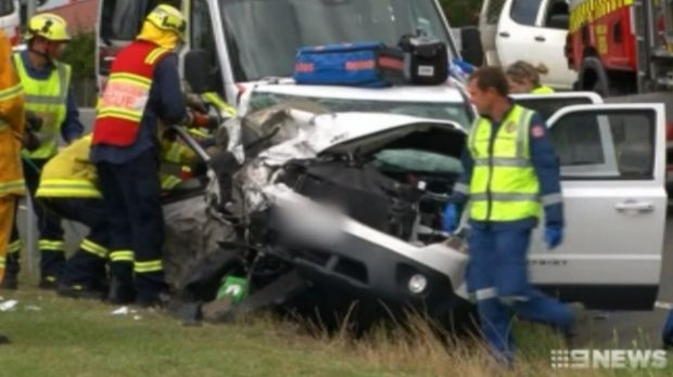Ambulance and emergency services crews tended to the injured after the crash.