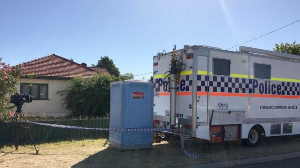 A police command post outside the Kewdale house searched by officers on Thursday.
