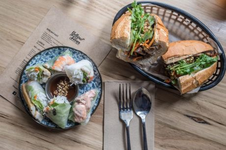 Five spice pork banh mi and a selection of house rice paper rolls.