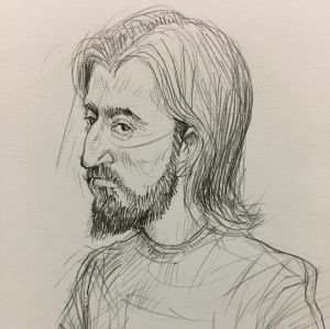 An artist's sketch of Abdullah Chaarani, appearing in the Melbourne Magistrates Court.