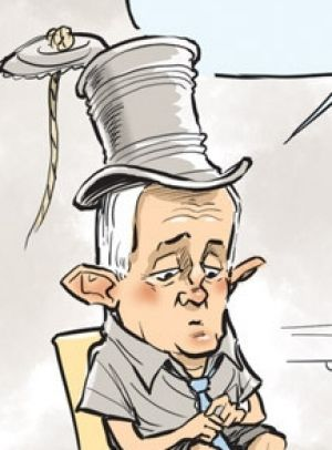 """David Pope on drawing the PM with a tin-can-and-string top hat (from his days as Minister for Communications): """"He now ..."""