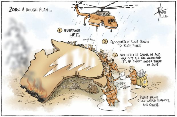 "2016: A rough plan ... Says cartoonist David Pope: ""It's always good to start the new year with a plan. You can then go ..."