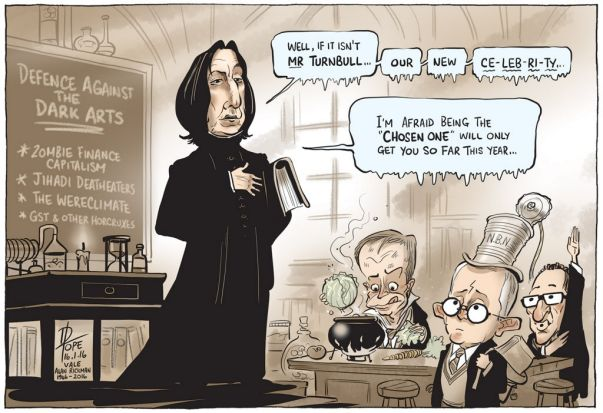 The actor Alan Rickman was another celebrity whose death in 2016 cartoonist David Pope worked into his political commentary.