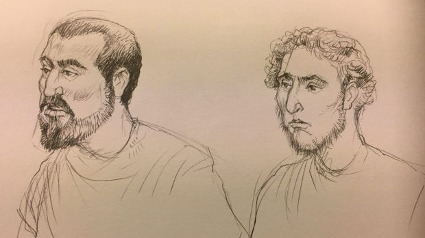 A artist's sketch of Hamza Abbas, on left, and Ahmed Mohamed facing the Melbourne Magistrates Court.