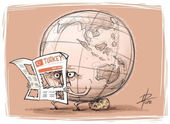 This cartoon by David Pope published on the front page of the Turkish national daily paper Cumhuriyet comments on the ...