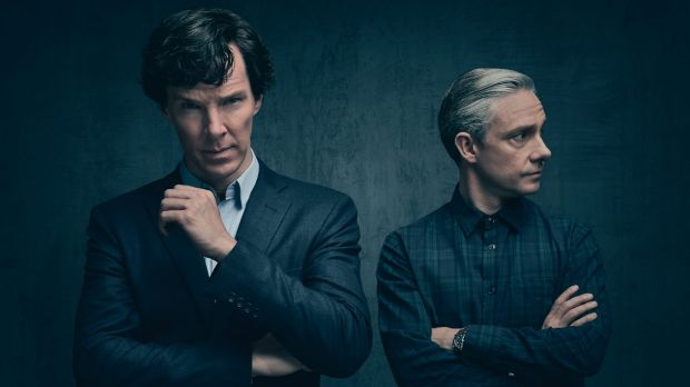 Bendict Cumberbatch and Martin Freeman as Sherlock Holmes and Dr Watson.