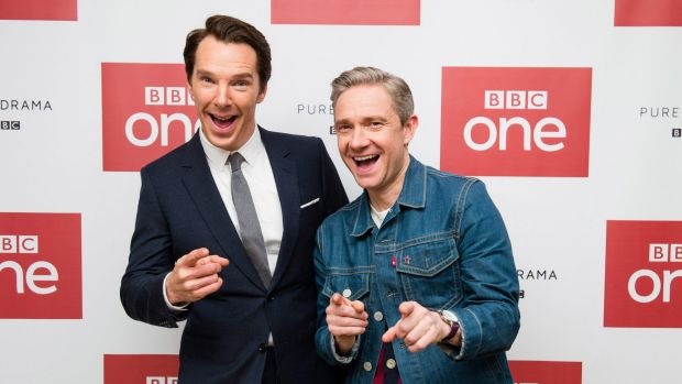 Benedict Cumberbatch and Martin Freeman attend a screening of the Sherlock 2016 Christmas Special.