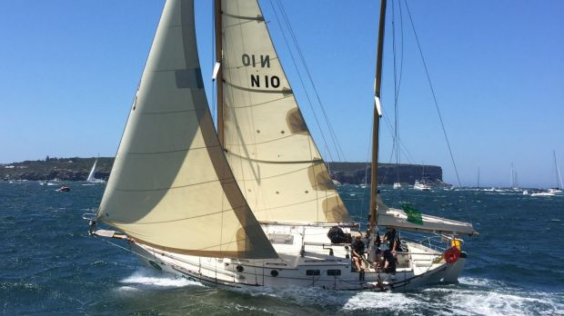 Ailing: Freyja in trouble during the start of the Sydney to Hobart.