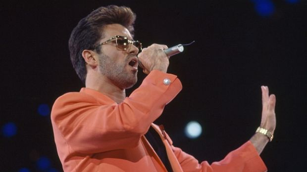 George Michael performing on stage during the Freddie Mercury Tribute Concert for Aids Awareness at Wembley Stadium in ...