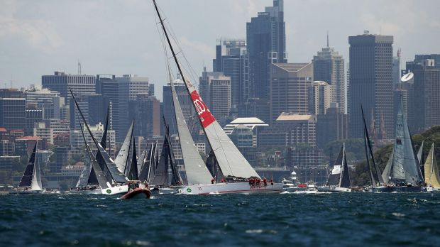 Disappointing end: Wild Oats XI, pictured at the start of the race.