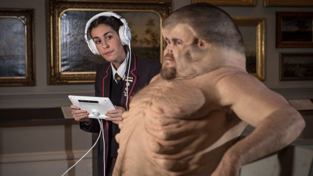 Billie Patestos inspects the TAC sculpture Meet Graham which interprets what a human body might look like if it had ...