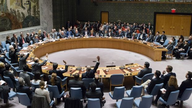 Members of the United Nations Security Council vote in favour of condemning Israel for its practice of establishing ...