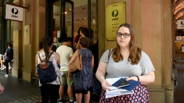 Sarah Hort outside Martin Place post office on Wednesday, after discovering the Potts Point office was closed.