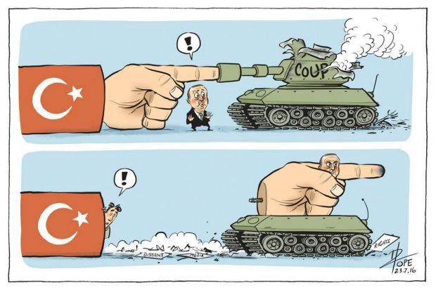Pope's editorial cartoon of July 23, 2016, depicted the consequences for freedom in Turkey of the failed military coup.