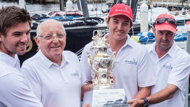 Giacomo crew: Nikolas Delegat, Jim Delegat, James Delegat and Steve Cotton with the Tattersall's Cup for overall victory ...