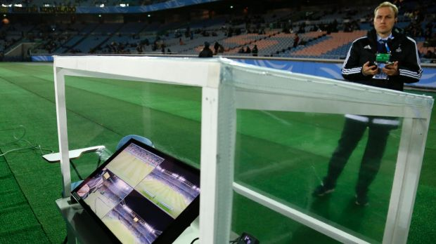 Innovation: The video assistant referee (VARs) used at the Club World Cup tournament in Yokohama.