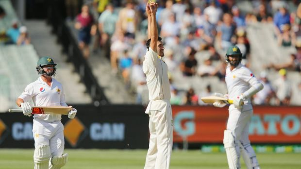 It's over! Mitch Starc exalts as Jackson Bird catches Yasir Shah to win the match and give Starc his fourth wicket.