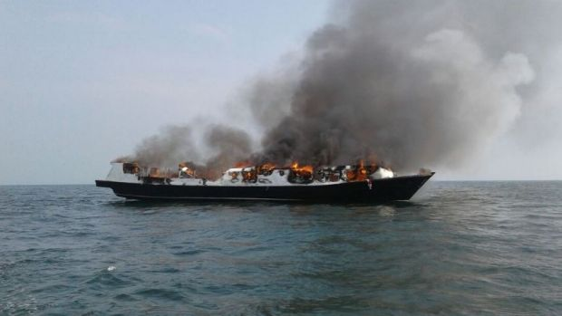 The Zahro Express ablaze at sea about 20 minutes after leaving port in Jakarta on New Year's Day.