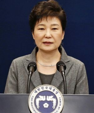 Park Geun-hye, pictured in November, is accused of colluding with long-time friend Choi Soon-sil to pressure big ...